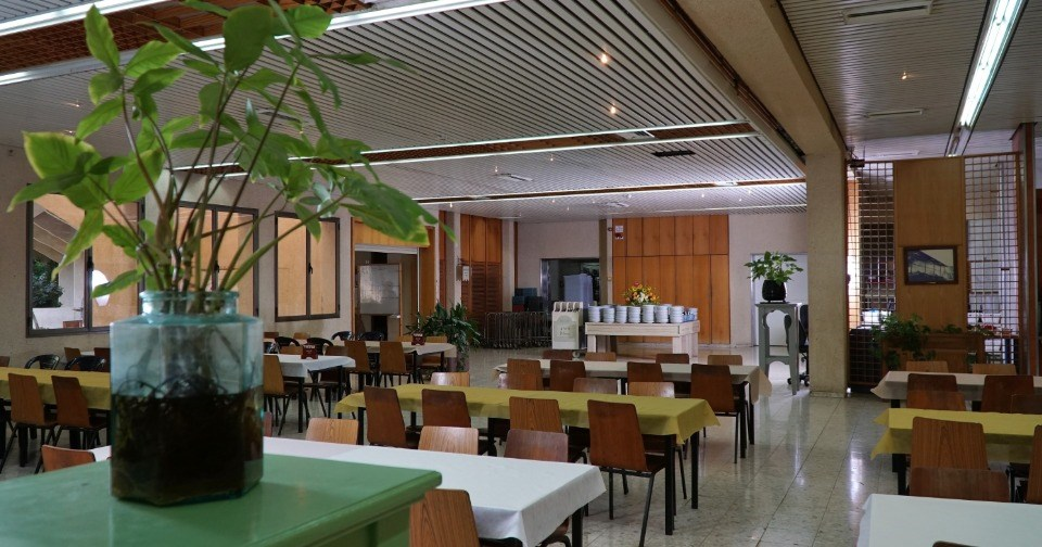 he Kibbutz dining hall in Kibbutz Mizra